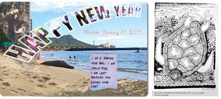 New Year's Postcard-Monk Seal + Sea Turtle art by Michael Daly