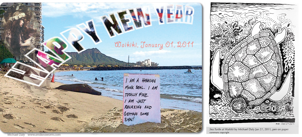 Happy New Year 2011 postcard by Michael Daly Artist, Monk Seal and Sea Turtle